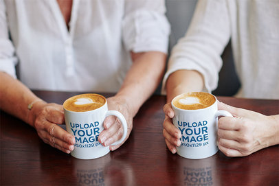 Coffee Mug Mockup of Two Women Enjoying a Latte Together m2130-r-el2