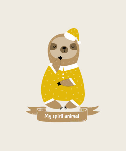 T-Shirt Design Creator with a Cute Illustration of a Sloth in Pajamas 3577b-el1