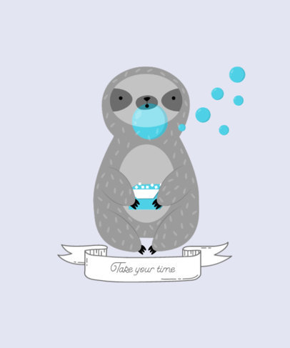 T-Shirt Design Creator with an Illustration of a Cute Sloth 3577e-el1