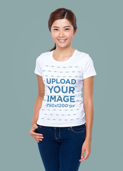 T-Shirt Mockup Featuring a Smiling Woman with a Customizable Background m1759-r-el2