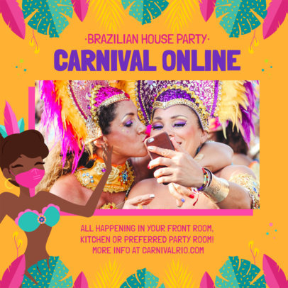 Instagram Post Creator for a Virtual Brazilian Carnival Gathering 3432a