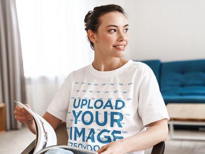 Unisex T-Shirt Mockup of a Woman Reading at Home 41279-r-el2