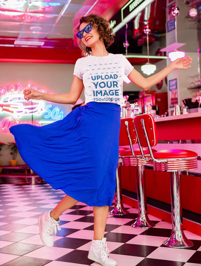 T-Shirt Mockup of a Happy Woman With Sunglasses at a Retro Diner m2079-r-el2