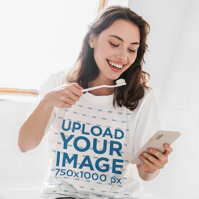 Unisex T-Shirt Mockup of a Happy Woman Holding a Toothbrush 41276-r-el2