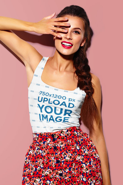 Sublimated Tank Top Mockup Featuring a Woman with a Braid m1453-r-el2