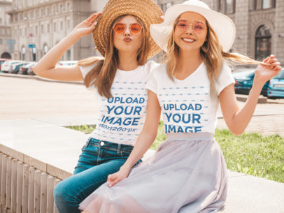 T-Shirt Mockup of Two Female Posing at a City M1595-r-el2
