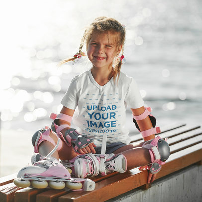 V-Neck Tee Mockup Featuring a Little Girl with Roller Skates m1738-r-el2