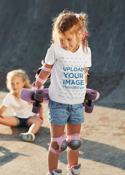 T-Shirt Mockup of a Young Girl at a Skating Park m1909-r-el2