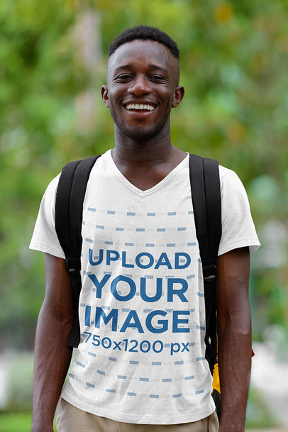 V-Neck Tee Mockup of a Happy Man Traveling m1629-r-el2