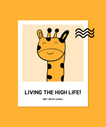 T-Shirt Design Template with an Illustration of a Giraffe in a Polaroid Frame 3573d-el1