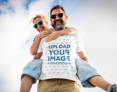 T-Shirt Mockup Featuring a Man Carrying His Wife on His Back M2199-r-el2