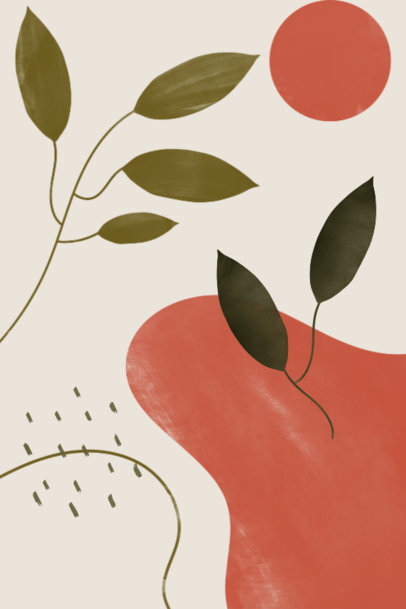 Elegant Art Print Design Generator with Illustrated Plants and Shapes 3426h