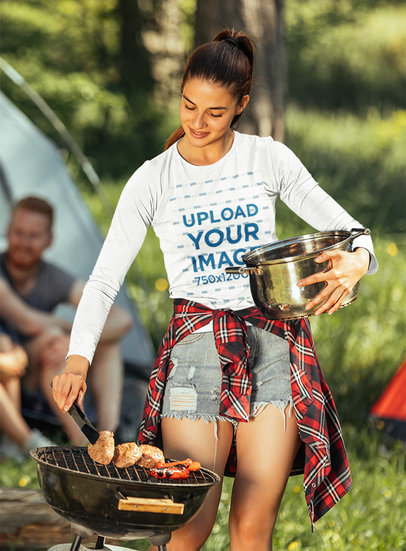 Long Sleeve Tee Mockup of a Woman at a Campsite m1904-r-el2