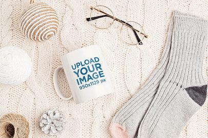 11 oz Coffee Mug Mockup Featuring Knitted Garments m1965-r-el2