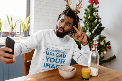 Christmas-Themed Sweatshirt Mockup of a Man Taking a Selfie M1881-r-el2
