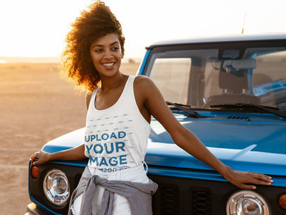Tank Top Mockup of an Adventurous Woman Posing by a Truck M1340-r-el2