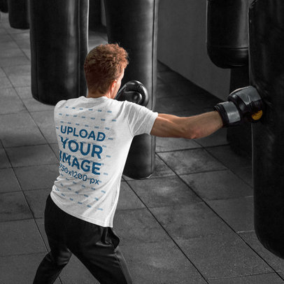 Heather T-Shirt Mockup of a Red-Haired Man Boxing in a Gym m1852-r-el2