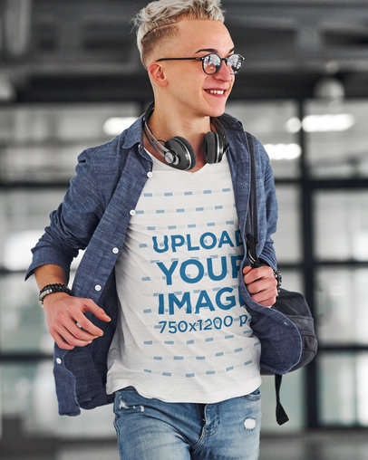 V-Neck Tee Mockup Featuring a Man with an Edgy Haircut m1862-r-el2