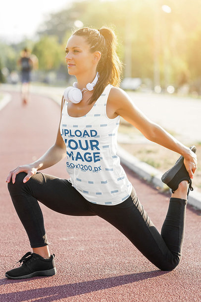 Sublimated Tank Top Mockup of a Female Runner Stretching m1821-r-el2