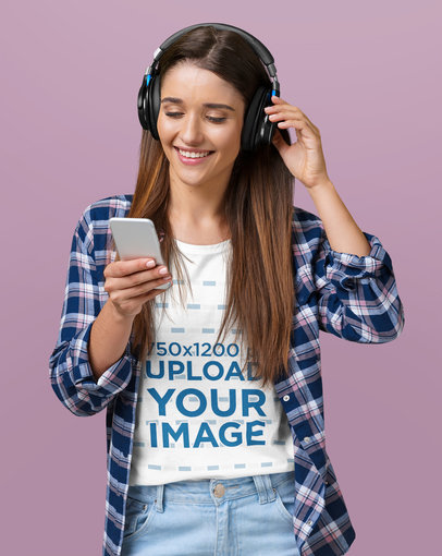 T-Shirt Mockup of a Happy Woman Wearing Headphones to Listen to Music m2388-r-el2