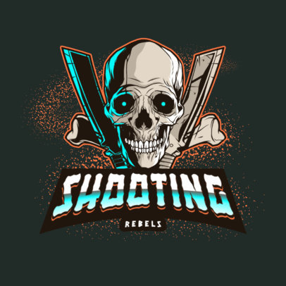 Shooting Gaming Logo Creator with a Skull Graphic 4095d