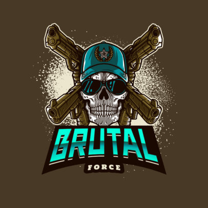 Brutal Gaming Logo Template Featuring the Skull of a Shooter 4095c