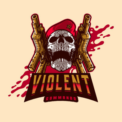 Violent Logo Creator Featuring a Skull with a Military Beret 4095f