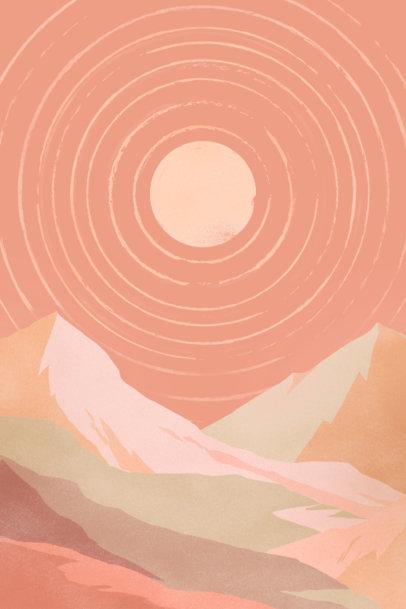 Illustrated Art Print Design Template Featuring a Mountain Landscape 3425d