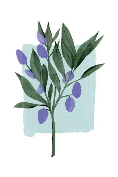 Art Print Design Generator Featuring Watercolor Plants 3423b