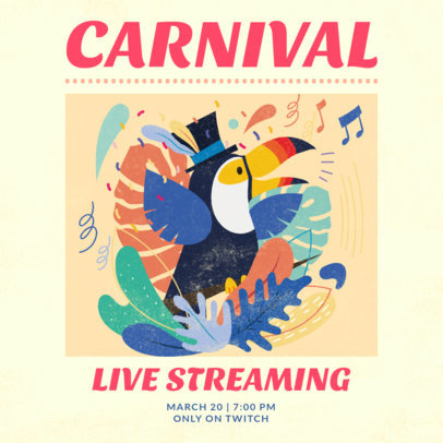 Illustrated Instagram Post Creator to Announce a Carnival Livestreaming 3431b