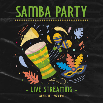 Carnival-Themed Instagram Post Creator for a Samba Party Live Stream 3431g