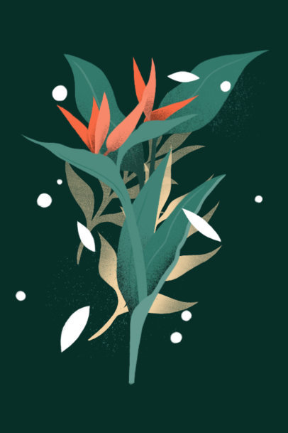 Illustrated Art Print Design Template Featuring a Bird of Paradise 3424a
