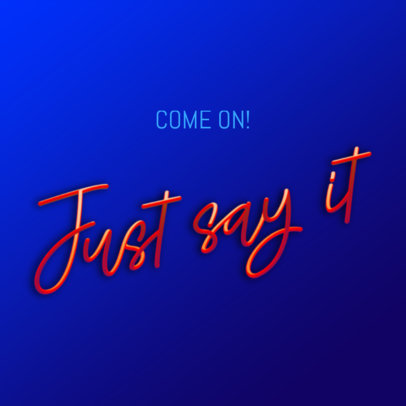 Instagram Post Creator for a Fun Quote with a 3D Text Graphic 3422b