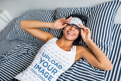 Tank Top Mockup of a Happy Woman Waking Up in the Morning m1690-r-el2