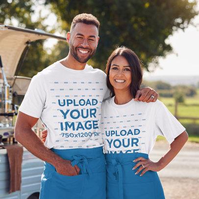 T-Shirt Mockup of a Happy Couple at an Outdoor Bazar M2348-r-el2