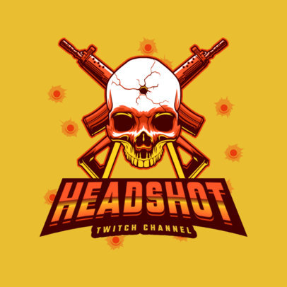 Shooter Gaming Logo Maker Featuring a Skull with a Headshot 4095j