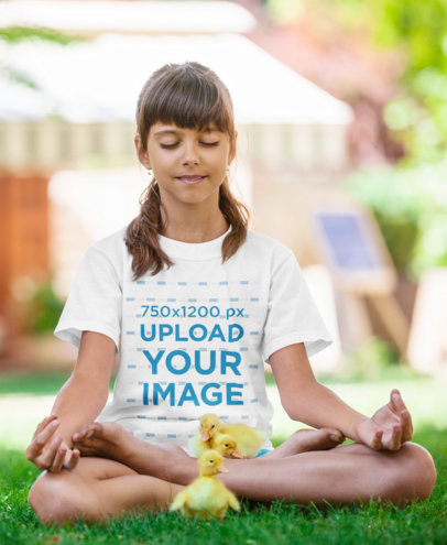 T-Shirt Mockup Featuring a Little Girl Meditating Surrounded by Chickens 34922-r-el2