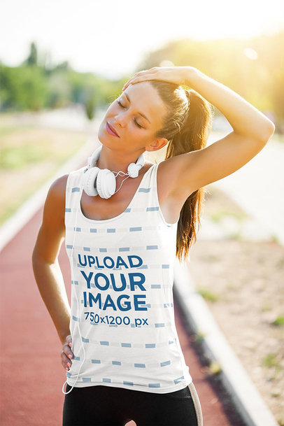 Sublimated Tank Top Mockup of a Female Runner Stretching Her Neck m1822-r-el2