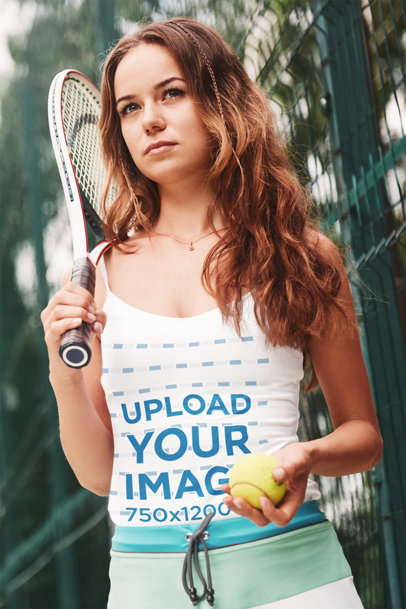 Tank Top Mockup Featuring a Female Tennis Player m2343-r-el2