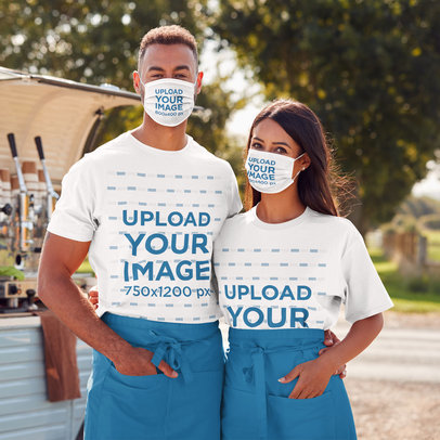 T-Shirt and Face Mask Mockup of a Man and a Woman Working Together m2349-r-el2