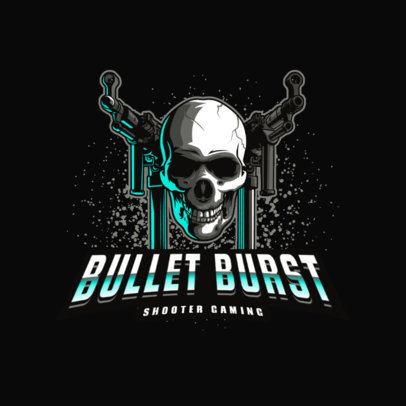 Shooter Gaming Logo Creator with a Graphic of a Skull and Two Rifles 4095n