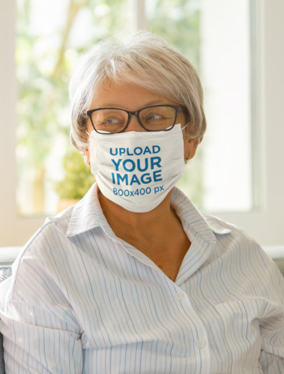 Mockup of a Short-Haired Senior Woman Wearing a Face Mask m2229-r-el2