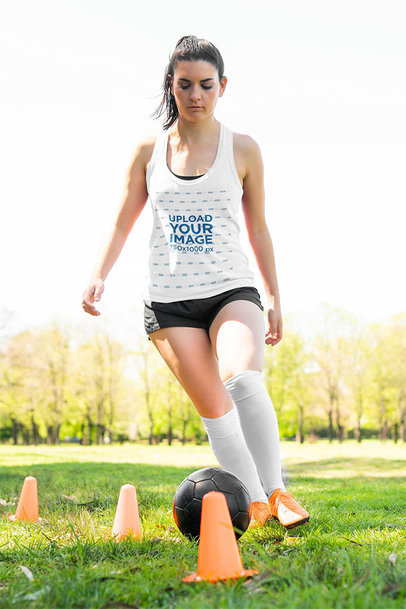 Mockup of a Woman Wearing a Tank Top While in Soccer Training m2174-r-el2