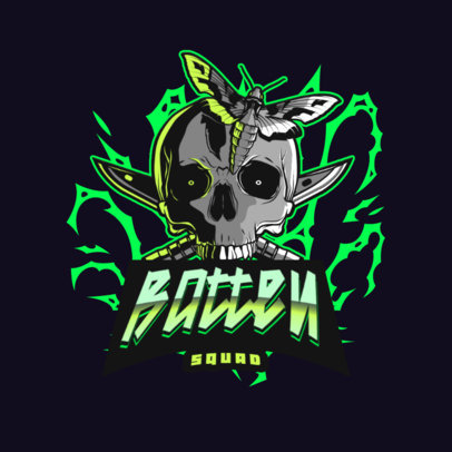 Gaming Squad Logo Creator Featuring a Skull and a Moth 4095h