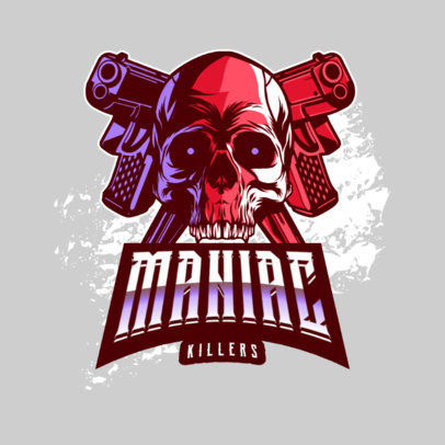 Killer Gaming Logo Creator Featuring a Skull and Two Guns 4095b