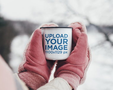 Mockup of a Woman Holding a 12 oz Enamel Mug in the Winter Time M2140r-el2
