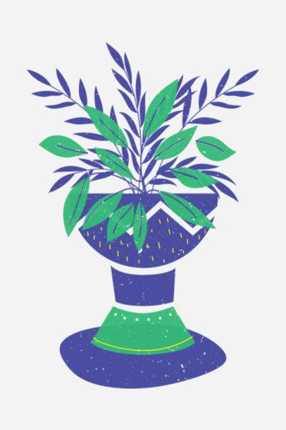 Art Print Design Template Featuring Illustrations of Plant Pots 3459