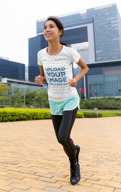 Heather T-Shirt Mockup of a Woman Running at a City Park M2658-r-el2