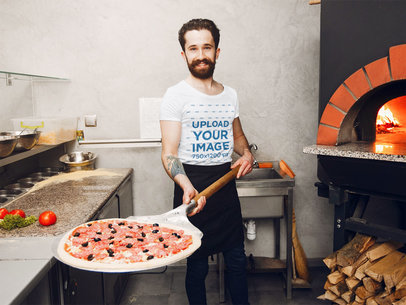 T-Shirt Mockup of a Bearded Man Baking a Pizza 42693-r-el2