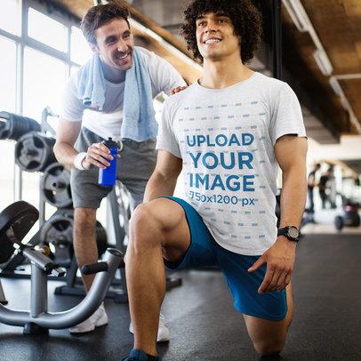 Heathered Tee Mockup of a Man Training at a Gym 44517-r-el2